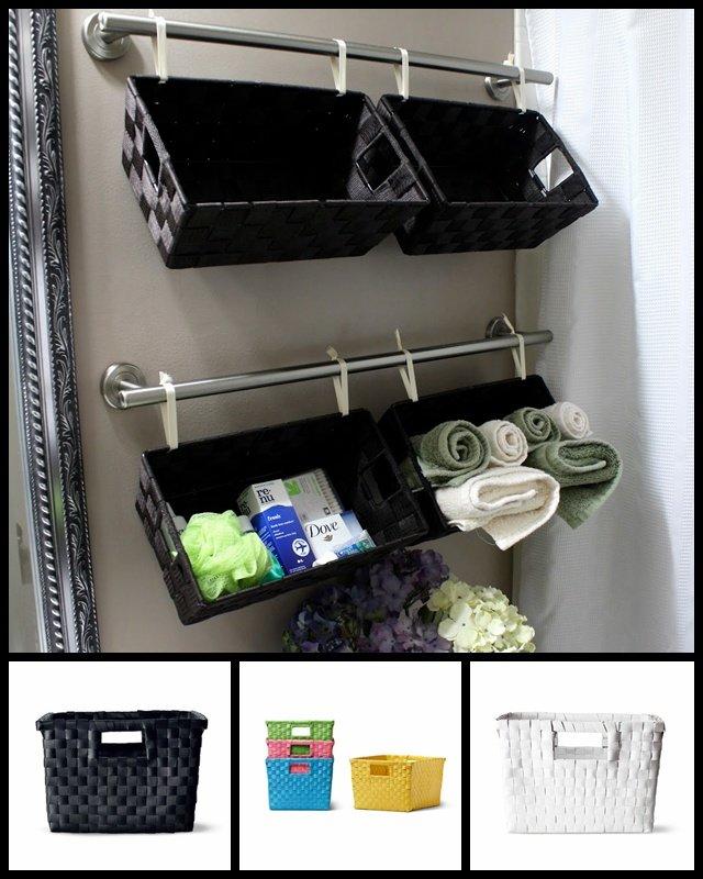 Arriba, resultado del proyecto de Stephanie. Abajo, cestas de Tiger de diferentes colores, 4€ la unidad.